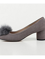 Women's Shoes Nubuck leather Spring Fall Pom-pom Shoes Basic Pump Heels Stiletto Heel For Casual Gray Black