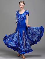 Ballroom Dance Dresses Women's Performance Tulle Ice Silk Pattern/Print 1 Piece Natural Dresses