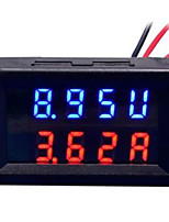 diy prático duplo de 0,28 polegadas 3 dígitos vermelho azul led display medidor de corrente de tensão (dc 0 - 100v / 50a)