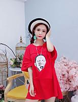 Women's Daily Street chic T-shirt,Print Round Neck Short Sleeves Cotton