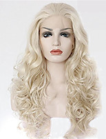Women Synthetic Wig Lace Front Medium Length Long Curly Wavy Natural Wave Loose Wave Platinum Blonde Lolita Wig Party Wig Celebrity Wig