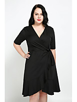Cute Ann Women's Plus Size Casual/Daily Sexy Simple Street chic A Line DressSolid V Neck Knee-length Short Sleeves Cotton Polyester All Seasons