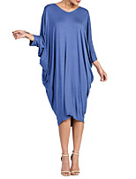 Women's Plus Size Casual/Daily T Shirt Dress,Solid V Neck Midi 3/4 Length Sleeves Polyester Spring Fall High Rise Micro-elastic Medium