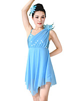 Balletto Vestiti Per donna Per bambini Esibizione Elastene Elastico Maglia Con strass Licra Plissettato Paillettes Senza maniche Alto