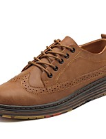 Men's Shoes Cowhide Spring Fall Comfort Oxfords Lace-up For Casual Brown Gray Black