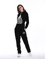 Women's Daily Going out Street chic Winter Fall Hoodie Pant Suits,Quotes & Sayings Hooded Long Sleeve Cotton