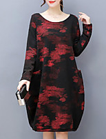 Women's Plus Size Casual/Daily Loose Dress,Print Round Neck Knee-length Long Sleeves Acrylic Winter Mid Rise Inelastic Thick