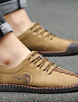 Men's Shoes Cowhide Spring Fall Light Soles Sneakers For Casual Khaki Light Yellow Black