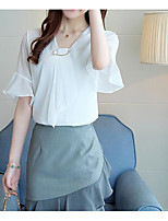 Women's Daily Casual Blouse,Solid V Neck Half Sleeves Polyester