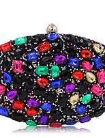 Donna Sacchetti Per tutte le stagioni Poliestere Pochette Bottoni Dettagli con cristalli per Casual Blu Nero Fucsia