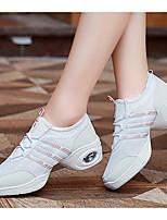 Women's Dance Sneakers Tulle Flat Heel Practice White Black