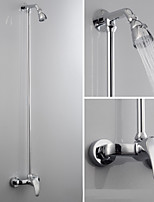 Contemporary Shower System Rain Shower with  Ceramic Valve Two Holes for  Chrome , Shower Faucet