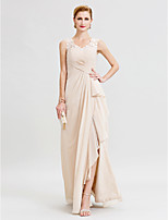Sheath / Column V-neck Floor Length Chiffon Lace Mother of the Bride Dress with Criss Cross Ruffles Split Front by LAN TING BRIDE®