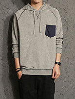 Men's Daily Casual Hoodie Solid Color Block Hooded Micro-elastic Cotton Long Sleeve Fall