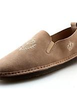 Для мужчин обувь Искусственное волокно Весна Осень Удобная обувь Мокасины и Свитер Назначение Повседневные Черный Бежевый Хаки