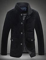 Herren Gefüttert Mantel Einfach Ausgehen Lässig/Alltäglich Solide-Polyester Andere Polypropylen Langarm