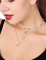 Жен. Ожерелья с подвесками Слоистые ожерелья Крестообразной формы Медь Сплав Сексуальные платья Многослойный Бижутерия Назначение Для