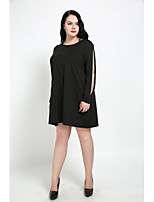 Cute Ann Women's Plus Size Casual/Daily Sexy Vintage Simple Shift T Shirt Dress,Solid Round Neck Knee-length Above Knee Long Sleeves Cotton Modal