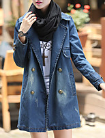 Women's Going out Simple Fall Winter Denim Jacket,Solid Shirt Collar Long Sleeve Regular Polyester