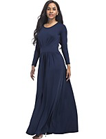 Women's Daily Plus Size Street chic Loose Dress,Solid Round Neck Maxi Long Sleeves Polyester Spandex Fall Medium Waist Stretchy Thin