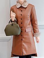 Women's Daily Simple Casual Winter Fur Coat,Solid Shirt Collar Long Sleeve Long Lambskin