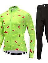 Maillot et Cuissard Long de Cyclisme Unisexe Manches Longues Vélo Ensemble de Vêtements Séchage rapide Graphique Hiver Cyclisme/Vélo Vert