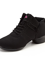 Women's Dance Sneakers Tulle Flat Practice Sided Hollow Out Flat Heel White Black Red 1