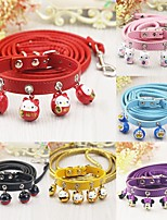 Cat Dog Collar Leash With Bell Cartoon PU Leather Yellow Fuchsia Red Pink