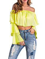 Women's Going out Club Casual Sexy Street chic Spring Fall T-shirt,Solid Boat Neck Long Sleeves Polyester Medium
