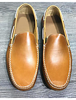 Men's Shoes Cowhide Spring Fall Light Soles Loafers & Slip-Ons For Casual Brown Coffee