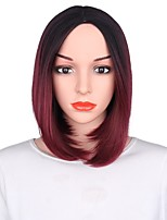 Women Synthetic Wig Capless Short Black/Burgundy Ombre Hair Party Wig Costume Wig