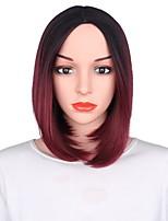 Femme Perruque Synthétique Court Noir / Bourgogne Cheveux Colorés Perruque de fête Perruque Déguisement