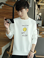 Men's Casual/Daily Set Solid Round Neck Stretchy Cotton Long Sleeve Fall