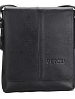 Men Bags All Seasons Cowhide Shoulder Bag Buttons Zipper for Formal Office & Career Black