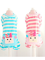 Dog Jumpsuit Dog Clothes Cotton Spring/Fall Summer Casual/Daily Cartoon Yellow Green Blue Pink For Pets
