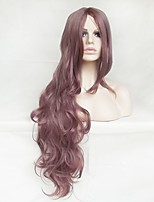 Women Synthetic Wig Capless Long Wavy Natural Wave Purple With Bangs Party Wig Halloween Wig Natural Wigs Costume Wig