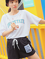 Women's Daily Casual T-shirt,Letter Round Neck Short Sleeves Cotton