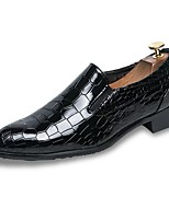 Men's Shoes PU Spring Fall Comfort Loafers & Slip-Ons Plaid For Office & Career Black