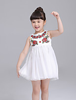 Girl's Daily Embroidered Dress,Polyester Summer Sleeveless Lace White