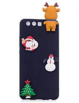 Недорогие -Кейс для Назначение P10 Lite / P10 Матовое / Своими руками Кейс на заднюю панель 3D в мультяшном стиле / Рождество Мягкий ТПУ для P10 Lite / P10 / P8 Lite (2017)