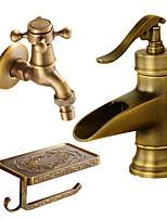 Set de centre Jet pluie with  Soupape céramique Mitigeur un trou for  Cuivre antique , Robinet lavabo