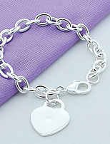 Women's Chain Bracelet Simple Style Elegant Silver Heart Jewelry For Wedding Party