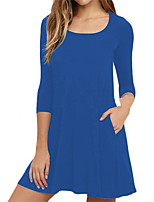 Women's Plus Size Casual/Daily Simple Street chic T Shirt Dress,Solid Round Neck Mini Long Sleeves Polyester Spring Fall Mid Rise
