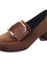 Для женщин Обувь Бархатистая отделка Нубук Полиуретан Осень Удобная обувь Обувь на каблуках На низком каблуке На толстом каблуке Круглый