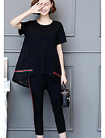 Camicia Pantalone Completi abbigliamento Da donna Casual Semplice Estate,Tinta unita Rotonda Manica corta Media elasticità