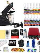 Starter Tattoo Kit Mini power supply 14 x 5ml Tattoo Ink 1 x aluminum grip Complete Kit