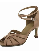 Women's Latin Satin Tulle Party/Evening Sandal Heel Professional Buckle Customized Heel Black Brown 1