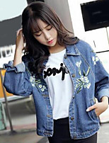 Women's Casual/Daily Simple Fall Denim Jacket,Print Shirt Collar Long Sleeve Short Cotton