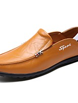 Men's Shoes Real Leather PU Nappa Leather Spring Fall Comfort Loafers & Slip-Ons For Casual Dark Brown Light Brown Black