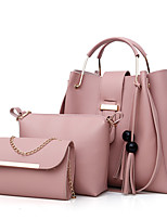 Women Bags PU Bag Set 3 Pcs Purse Set Zipper for Casual All Seasons Blushing Pink Beige Drak Red Gray Dark Brown